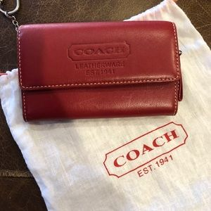 Red Leather Coach Wallet in EUC!